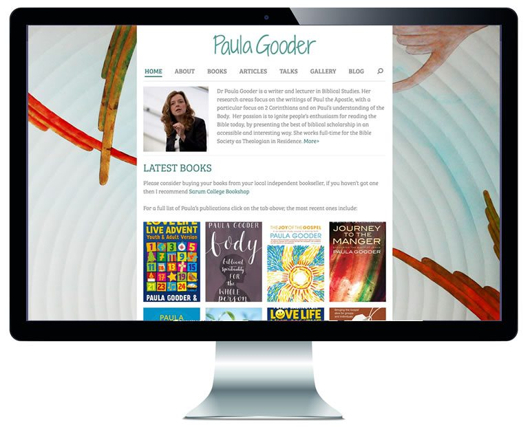 Image of home page of Paula Gooder's website