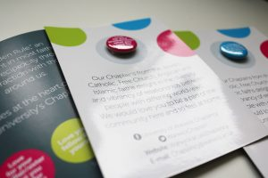 The postcards designed for the University of Warwick Chaplaincy