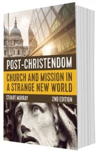 3-d version of Post-Christendom. Author Stuart Murray. Designed by Penguin Boy.