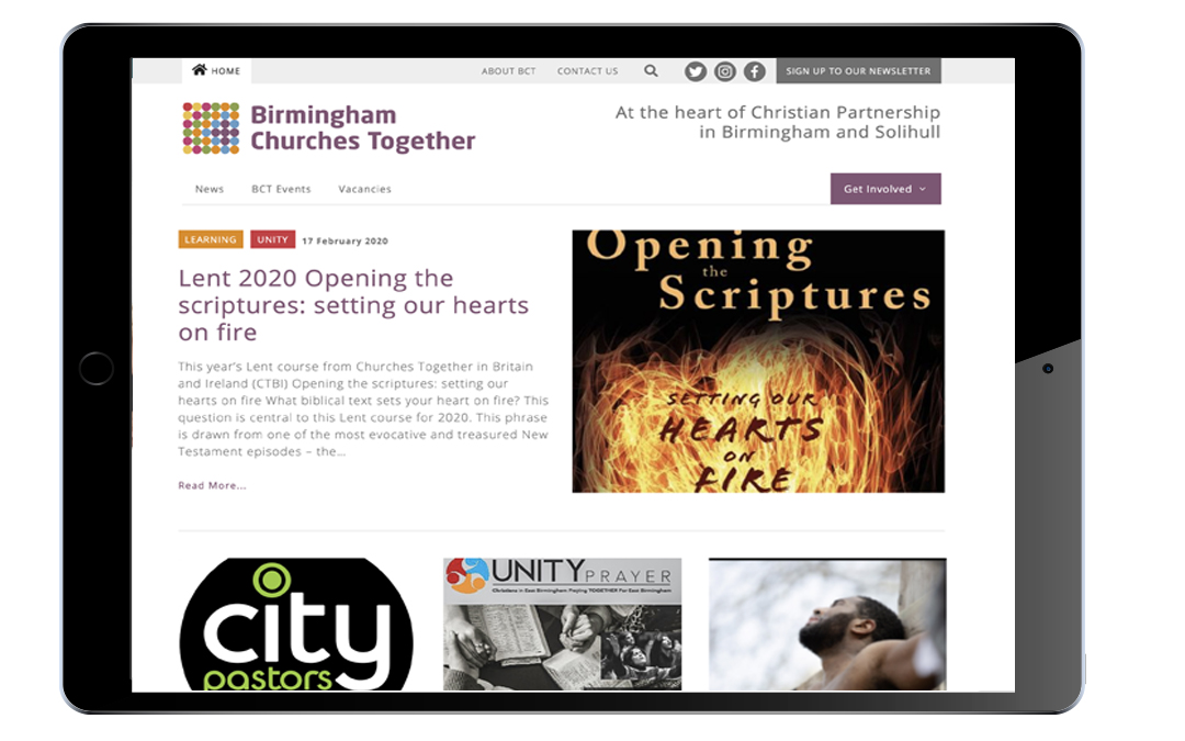 Image of home page of Birmingham Churches Together website