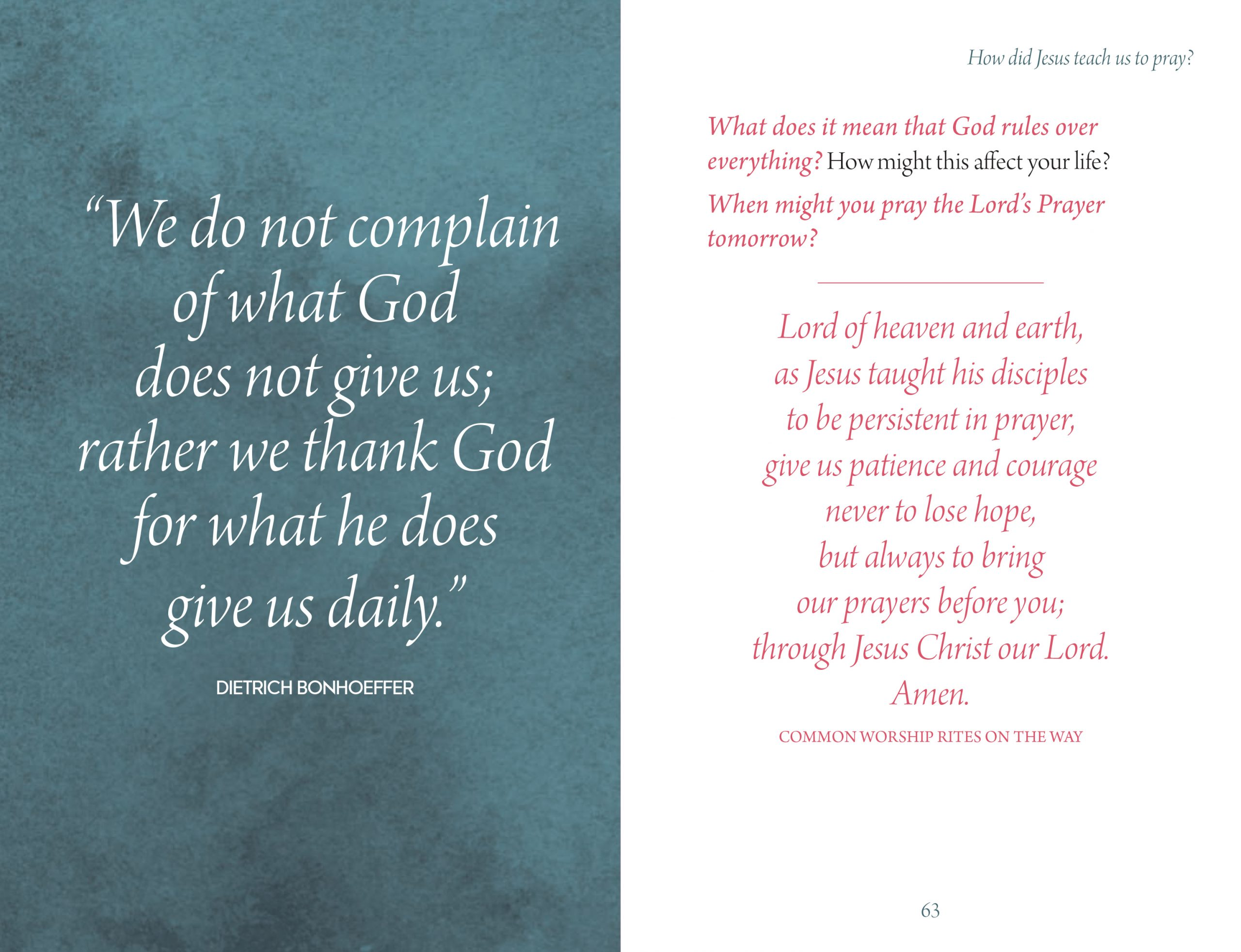 Inside page design from Prayer by Stephen Cottrell